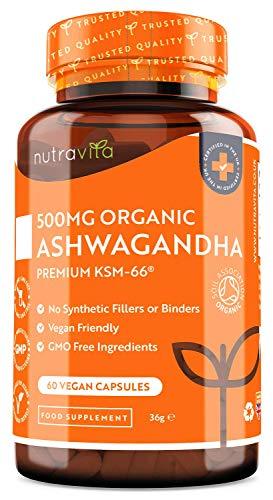 Ashwagandha Bio 500mg - Puro ad Alta Qualità KSM-66 Senza Riempitivi - Integratore Vegano Naturale di Withania Somnifera (Ginse