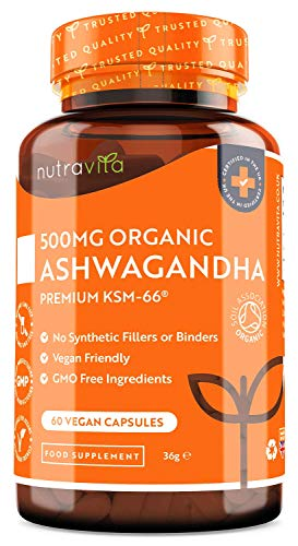 Organic Ashwagandha Vegan Capsules - 500mg Ashwaganda KSM-66 - Certified Organic by Soil Association - 100% Natural Ayurveda Supplement - Made in The UK by Nutravita