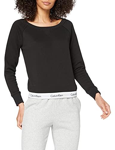 Calvin Klein Lounge Long Sleeve T-Shirt Camiseta Manga Larga, Negro (Black 001), L para Mujer