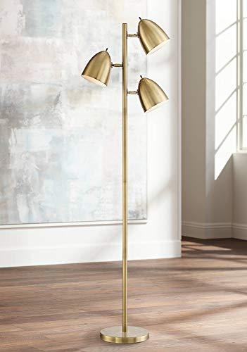 Aaron Mid Century Modern Floor Lamp Aged Brass 3-Light Tree Adjustable Dome Shades for Living Room...