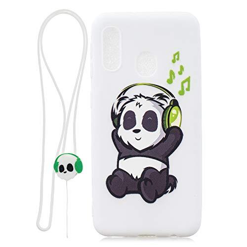 Huphant Kompatibel mit Samsung Galaxy A20E Hülle Silikon Case Cartoon Puppe mit Umhängeband Stoßstange Ultradünn Silikon Handyhülle für Samsung Galaxy A20E Cover Gemaltes Muster-Panda