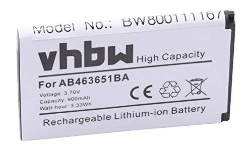 vhbw Li-Ion batería 900mAh (3.7V) para móvil Smartphone teléfono Samsung GT-S5600 Blade, GT-S5603, GT-S5608U, GT-S5610, GT-S5611, GT-S5620, GT-S5630C