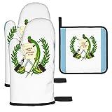 Hangdachang Flag of Guatemala Emblema Mitones y Porta ollas para Horno, Manoplas de Cocina Resistentes al Calor con Forro de algodón Suave y Superficie Antideslizante, aptas para Hornear, cocinar