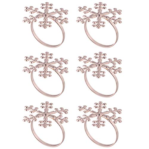 VALICLUD Rose Gold Snowflake Napkin Rings Christmas Holiday Napkin Holder Wedding Thanksgiving Dinner Party Home Table Decoration New Year Supplies 6pcs