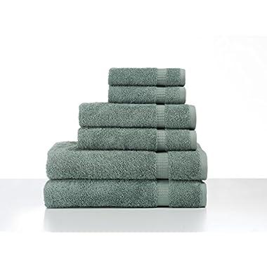 SALBAKOS 6 Piece Bath Towel Set - Turkish Luxury Hotel & Spa Collection - OEKO-TEX Organic - Eco-Friendly Turkish Cotton (Green)