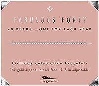 ラッキーフェザー 40歳の誕生日プレゼント レディース 14K ゴールドディップビーズブレスレット 調節可能な7インチ~8インチのコード 40歳の誕生日プレゼントに最適
