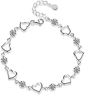 bracciali donna/bracciale argento 925 donna sparkle zircone bracciale con cuore regolabile 15cm + 4cm (catena allungata)re...