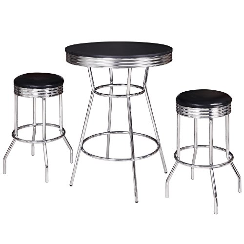 Hathaway Remington 3 Piece Pub Table Set, Chrome/Black
