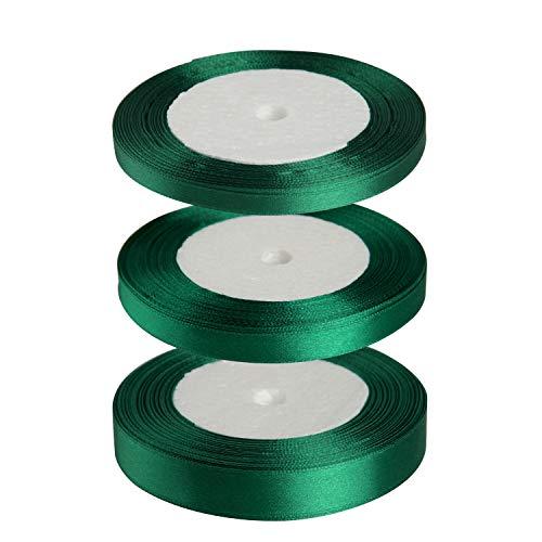 FEPITO 3 Rollen Satinband Grün Geschenkband 6mm 10mm 15mm Dekoband Stoffband Bänder zum Basteln Schleifenband für Weihnachtsdekoration Verpackung (Grün)