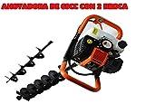 Bracog - Taladro de tierra Ahoyador 68cc 4.4cv +2 brocas 8cm y 20cm