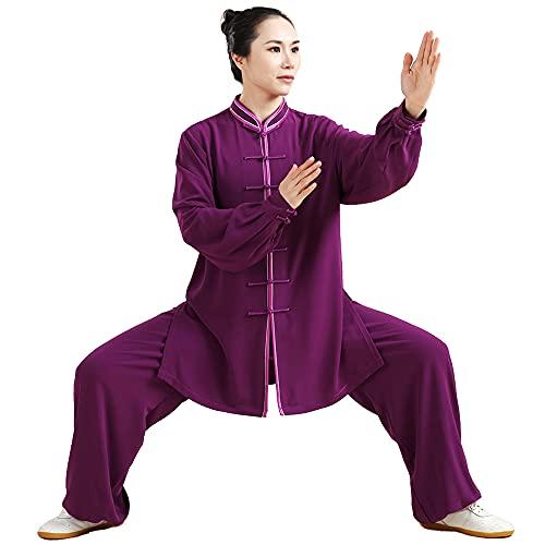 Tai Chi Ropa Mujer - Hombre Ropa Kung Fu Uniforme de Artes Marciales Algodón Manga Larga Primavera Verano Mañana Ropa Deportiva Gran Tamaño,Purple-Medium