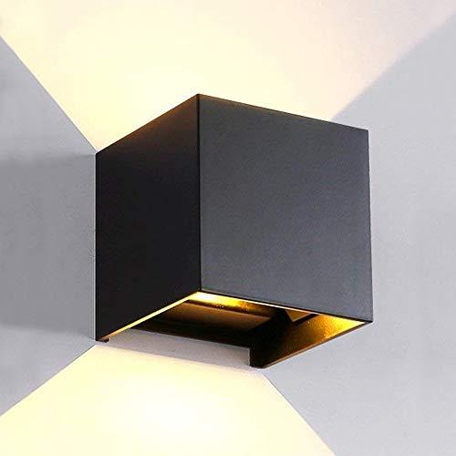 LANFU LED Aluminum Waterproof Wall Lamp, Waterproof Outdoor Light 6W 100-277V 3000K Angle-Adjustment Outdoor Wall Light Warm Light 2LEDS (Black-6W, Outdoor)