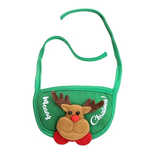 Haowen Ropa Vestir de Navidad Tocado de Mascota Toalla de Saliva Sombrero Toalla de Saliva Ciervo Verde