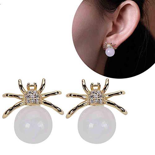 J.Memi\'s Spinne Ohrringe 925 Sterling Silber Natürliche Jade Runde Perlen Anhänger Tropfen Kronleuchter Überzug Gold Schmuck Für Weihnachten Jubiläum Geschenk,Gold