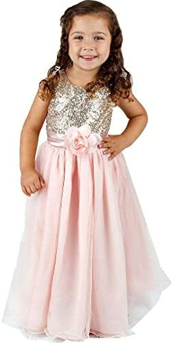 Bowdream Flower Girl s Dress Gold Sequins Blush Pink 4 Years product image