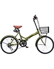 折りたたみ自転車 カゴ付 20インチ P-008N S字フレーム シマノ6段ギア ライト・ワイヤーロック錠付き