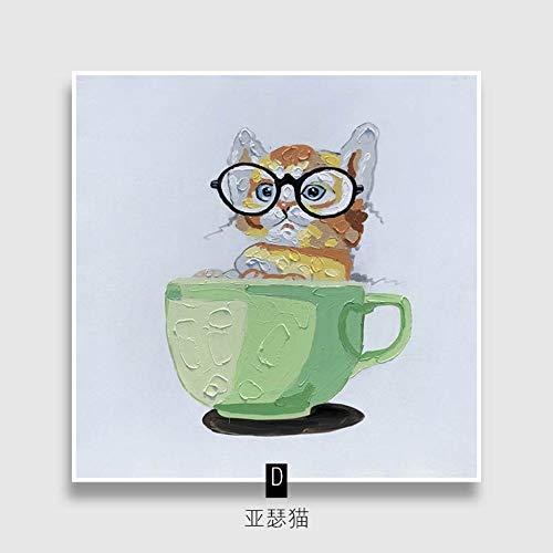 Olieverfschilderij op canvas handgeschilderd, abstract schilderen, dierschattige kat met zwarte glazen in groene schaal, grote moderne kunst wanddecoratie voor woonkamer, woningen, entree, slaapkamer en kantoor 60 x 60 cm