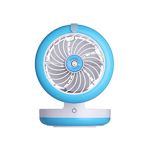 SMSOM 2 velocidades Mini Desk Spray Fan, ventilador de batería recargable USB con luz LED y batería de 2000mAh, ventilador portátil USB silencioso para el hogar, oficina, viajes, camping, al aire libr