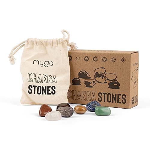 Myga RY1108 Piedras de chakra Cristales curativos naturales - Juego de 7 piedras curativas - Piedras de preocupación con bolsa de almacenamient