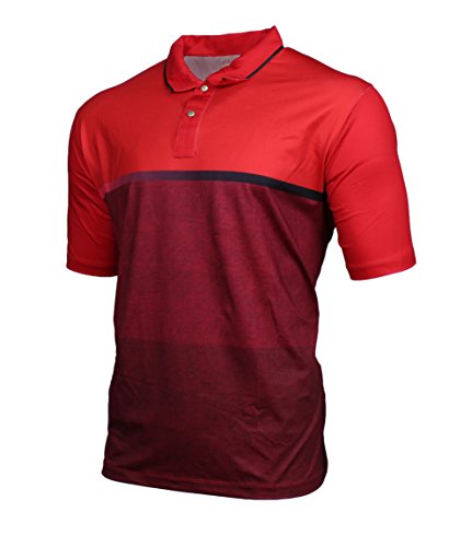 HENRY GRETHEL Mens Lightweight Performance Golf Polo (X-Large, Red)