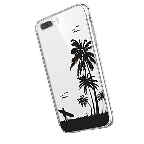 Inonler cocoteros y Vacaciones de Surf Playa Tropical Suave Transparente Funda(iPhone 5/5S/SE,Morado)