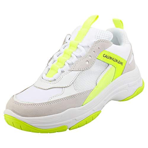 Calvin Klein Jeans Maya Dames Wit/fluorescent Geel Sneakers