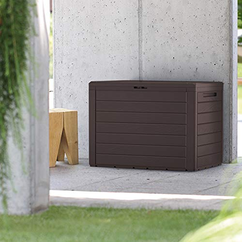 FineHome Arcón de plástico de 190 litros, para jardín, con aspecto de madera, impermeable, marrón