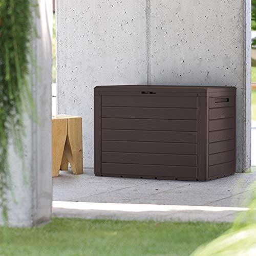 FineHome 190 Liter Kunststoff Auflagenbox Gartenbox Kissenbox Holz-Optik KunststoffPolsterauflagen wasserdicht braun