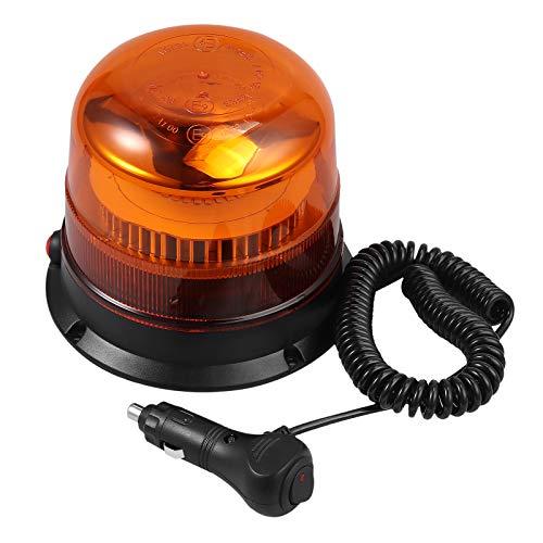 30 Leds Luz LED Estroboscópica Rotativa 3 Modos E9 Faro Intermitente de Advertencia de Emergencia Ámbar Magnético IP67 con Enchufe para Mechero de Coche de 12/24V para Vehículo Tractor Camión