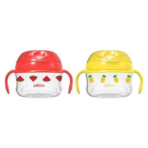 Dr. Brown's Toddler Snack Cup, Red & Yellow 2 Pack