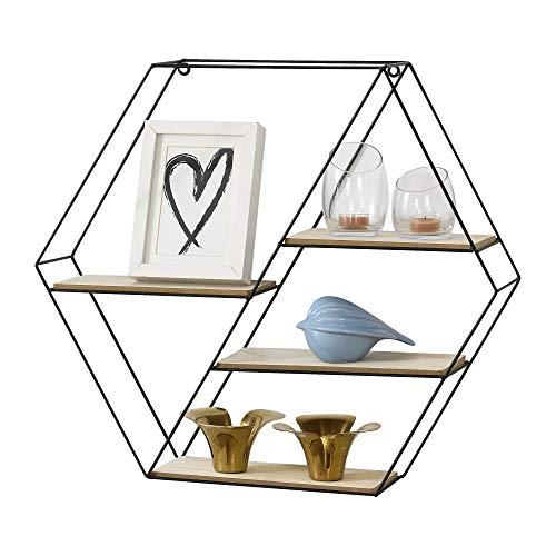 [en.casa] Wandregal Wabenförmig Schweberegal mit 4 Ablageflächen Hexagon Metallregal mit 4 Böden Hängeregal sechseckig 62 x 12 x 53 cm Schwarz