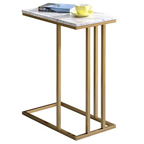 IDIMEX Beistelltisch Carlota, Wohnzimmertisch Couchtisch rechteckig im Retro Stil, Metallgestell in Gold MDF Tischplatte Dekor Marmor weiß
