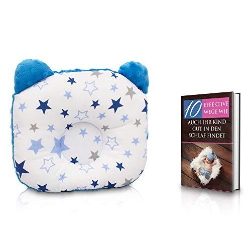 KidiZone das ergonomische Babykissen gegen Plattkopf und Kopfverformung mit Oeko-Tex 100 Zertifikat. Kinderkissen, Lagerungskissen, baby pillow für die Baby Erstausstattung, Baby Geschenk Stern blau