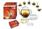 Creano Tea Flowers Mix - Set de regalo 'ErblühTee', set gourmet con jarra de cristal y tazas de té | té blanco (6 variedades diferentes)