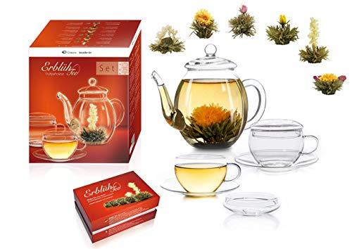 Creano Teeblumen Mix – Geschenkset Erblühtee Genießerset mit Glaskanne und Teetassen Weißtee (6 verschiedene Sorten)