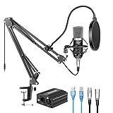 Neewer NW-700 Kit de Micrófono con Fuente de Alimentación Fantasma USB 48V, Soporte Suspensión NW-35, Montaje de Choque, Filtro de Pop para Grabación de Estudio(Negro)