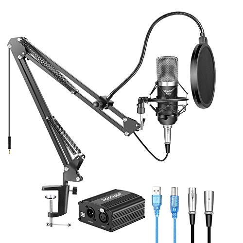 Neewer NW-700 Kit de Micrófono con Fuente de Alimentación Fantasma...