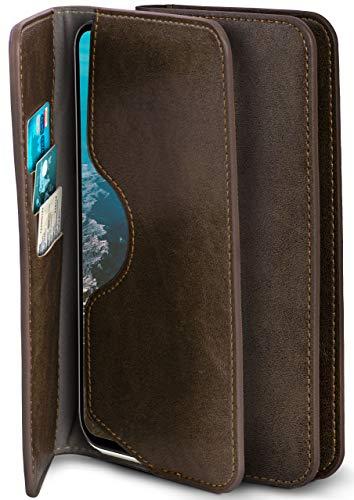 moex Excellence Line Handytasche kompatibel mit LG G8X ThinQ | Hülle Gold Oliv - Mit Kartenfach und Geld + Handy Fach, Klapphülle, Flip-Hülle Tasche, Klappbar