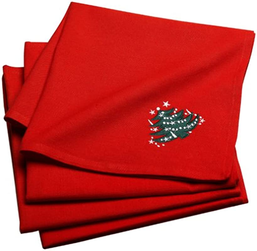 Waechtersbach Christmas Tree Embroidered Napkins Set Of 4