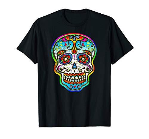 Sugar Skull Bunter Totenkopf Blumen Mexiko Halloween T-shirt