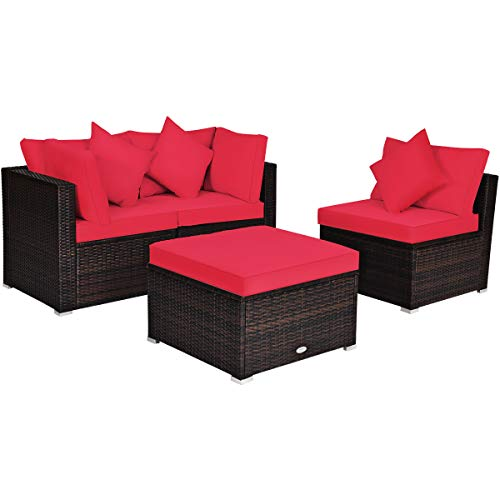 Tangkula 4 Pieces Patio Furniture Set, All Weather Outdoor Sectional Rattan Sofa Set w/Removable Cushions & Pillows, Wicker Conversation Set with Heavy-Duty Steel Frame for Backyard Garden Poolside