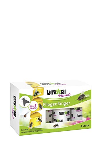 Terrasan Home Fliegenfänger, 4 Stück, Umweltfreundlich, Leimband aus Naturprodukten, 8 Wochen Wirkung