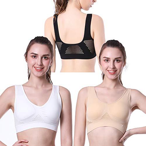 PRETTYWELL Schlaf-BHs für Frauen, komfortabler, nahtloser und dehnbarer Sport-BH, 3er-Pack, Yoga-BHs, mit herausnehmbaren Pads - Beige - Large