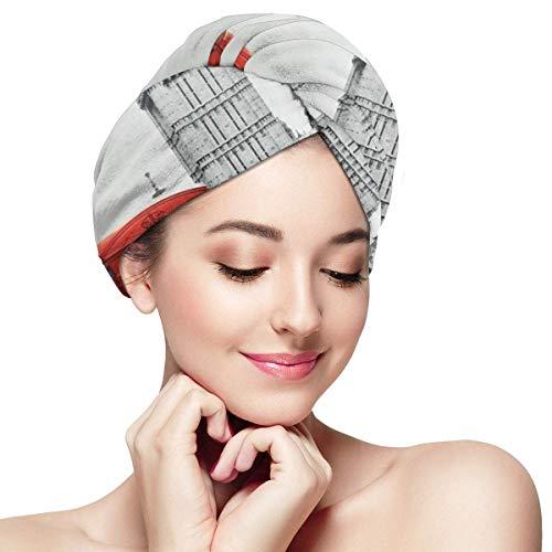 N/A Famosa cabina telefónica y el Big Ben en Inglaterra Street View Symbols of Town Retro Head Wraps para mujer gorro de ducha anti encrespamiento absorbente de torsión toalla de ducha sombrero