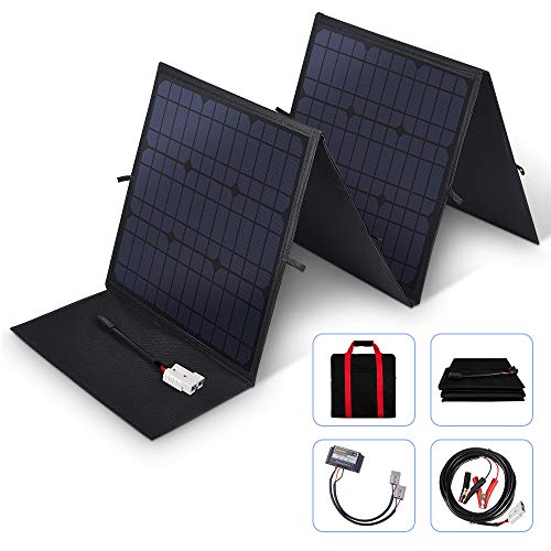 MEGSUN 100Watt 12V Portable Folding Solar Panel 18V Monocrystalline with a 10A Controller Ideal for Camping, Caravan, Motorhome Rallies, Trade Shows, Mobile Offices 12V System(Black) in Suitcase