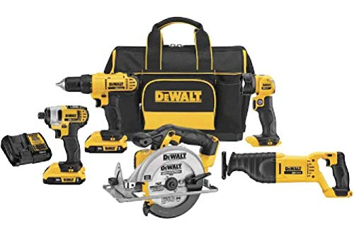 Dewalt 5 Tool Power Tool Set 20 Volt Power Max with Mechanic Bag and 2 Battery (Driver, Drill, Circular Saw, Reciprocating Saw and Light)