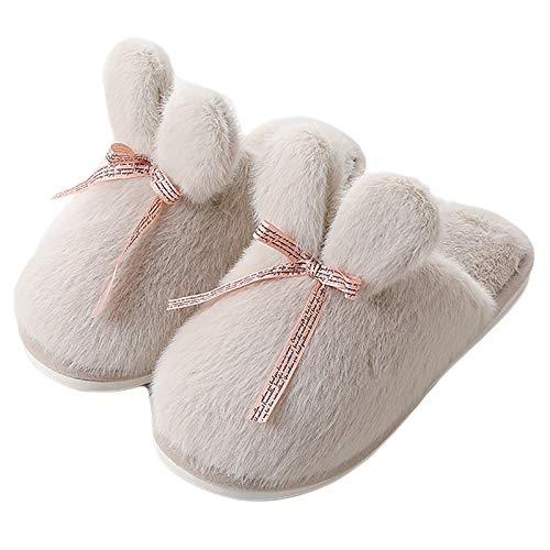 JBTM Zapatillas de Mujer para Hombre Invierno Antideslizante Mudo cálido Chanclas Zapatos de casa para Dormitorio Exterior jardín de casa,Blanco,38~39