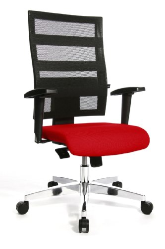 Topstar X-Pander 959TT310, Bürostuhl, Schreibtischstuhl, inkl. höhenverstellbare Armlehnen, Netzbezug, Bezugsstoff, rot/schwarz