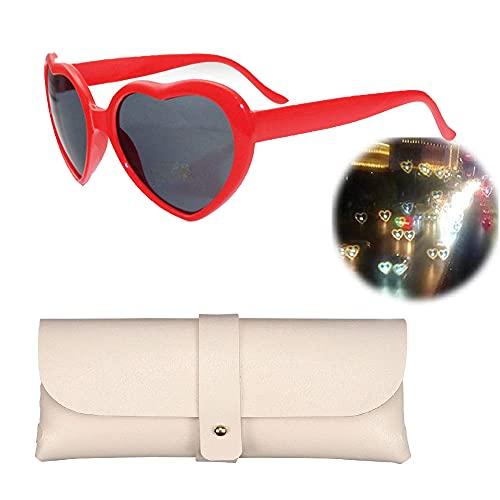 LUCKYYL 3D Brille Herzen Feuerwerk,Beugungsbrille,Fashion Mardi Gras Eyewear, Musikfestivals,1pcs