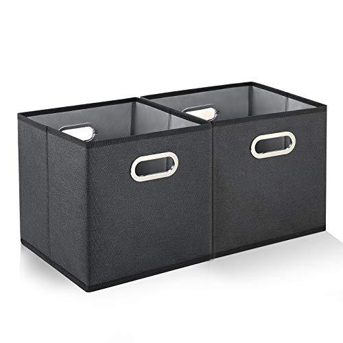 Cajas de Almacenaje Plegable-2 Pack Cubos Organizadores de Almacenamiento con Metal Asas,Cajas Tela Almacenaje,Cajas Almacenaje Decorativas para Estantes de Armario,Familia,Oficina(28x28x28cm Gris)
